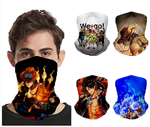 AMOMA 5-pack Anime One Punch Man One Piece Naruto Printed Comics Balaclavas Neck Gaiter(One Size,OnePieceC)