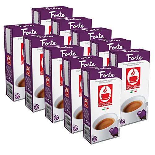 100 Kaffee Kapseln Nespresso kompatibel - Forte (10 x 10 Kapseln) von Bonini