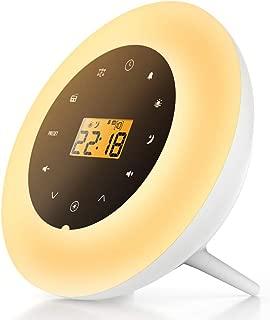 Wake Up Light with Sunrise Simulation, Fading Night Light, 7 Colors, Alarm Clock, FM Radio, White Noise and Nature Sounds