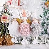 LINGSFIRE 3 Piezas de Adornos de ángel de Navidad, Colgante de muñeca de Pluma de ángel de Alce...