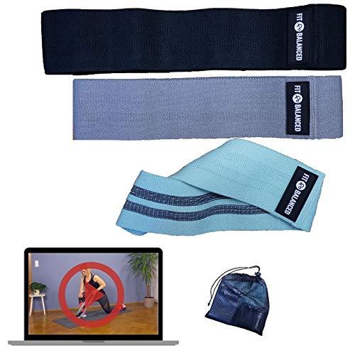 FIT BALANCED Lot de 3 bandes de résistance en tissu de qualité supérieure avec vidéo en ligne jusqu'à plus de 50 exercices, pas de glissement, agréable sur la peau