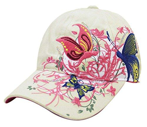 Thenice Damen Schmetterlings-Stickerei- Vintage Baseball Cap Snapback Trucker Hat (Beige)
