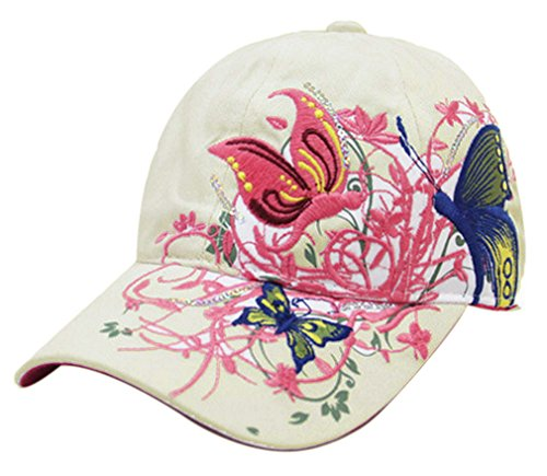 Thenice Damen Schmetterlings-Stickerei- Vintage Baseball Cap Snapback Trucker Hat (Beige)