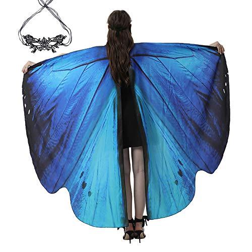 Xniral Damen Schmetterlingsflügel Schal Kostüm Zubehör mit Spitzenmaske Augenabdeckung für...