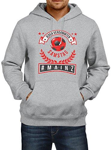 Shirt Happenz Mainz #1 Premium Hoodie | Fussball | Fan-Trikot | #jeden-verdammten-Samstag | Herren | Kapuzenpullover, Farbe:Graumeliert;Größe:XXL