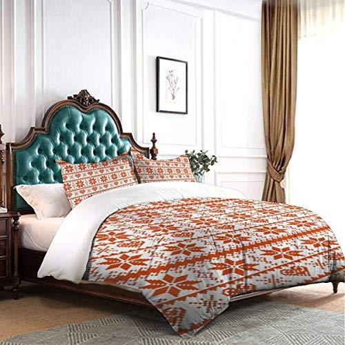 HARXISE Duvet Cover Set Scandinavian Tradition Fashion Nordic Borders Geometrical Pixel Retro Stylewhite Luxury Decorative Dorm Hotel 3-Piece Bedding Set with