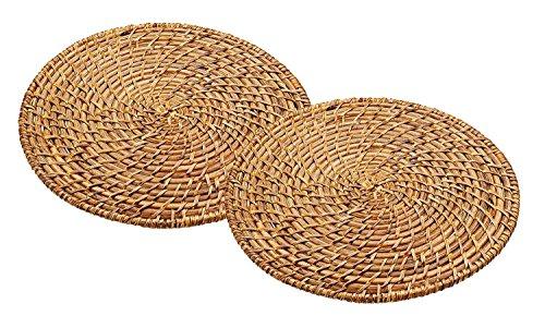 Master Class Artesà, Runde Tischmatten aus Rattan und Bambus, 2er-Set, Handgefertigtes Gewebtes Tischset für Abendessen im Korbwaren-Stil, 28 cm – Braun