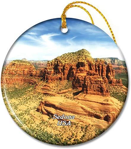 USA America Sedona Arizona Adornos de cerámica Redonda de 2.8 Pulgadas para Vacaciones Pandent para Familiares y Amigos