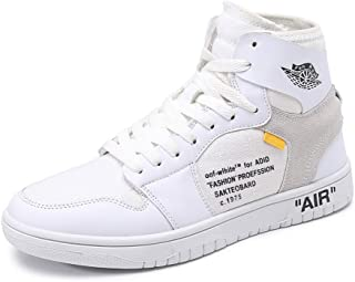 Women's High Top Shoes Casual Student White Lace Up Canvas Shoes Fashion Platform Skateboard Shoes (Color : White, Size : 38)