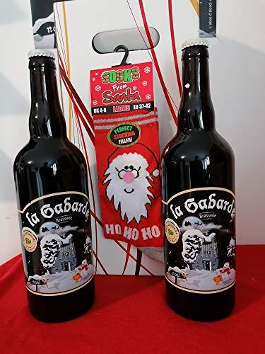 coffret cadeau + 1 paire de chaussette de noël 39/45 + 2 bieres gabarde blonde 75cl BIO de Noël.