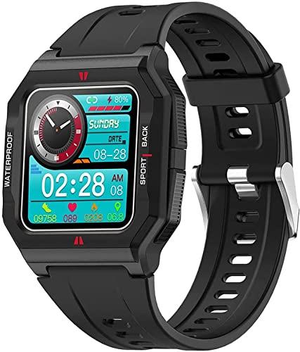 CNZZY FT10 Reloj inteligente para hombre con presión arterial y oxígeno en sangre, frecuencia cardíaca, reloj inteligente rastreador de actividades, reloj deportivo resistente al agua con calorías (B)