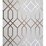 Contemporary Unique Luxury Wallpaper Modern wallcoverings Metal Foil Silver Metallic wallcovering Geometric Square Lines Textures Covering Rolls Wall coverings Vinyl Textured 3D