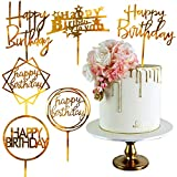 PartyWoo Cake Topper Compleanno, 6 pezzi Topper Torta Compleanno in Acrilico, Topper per t...