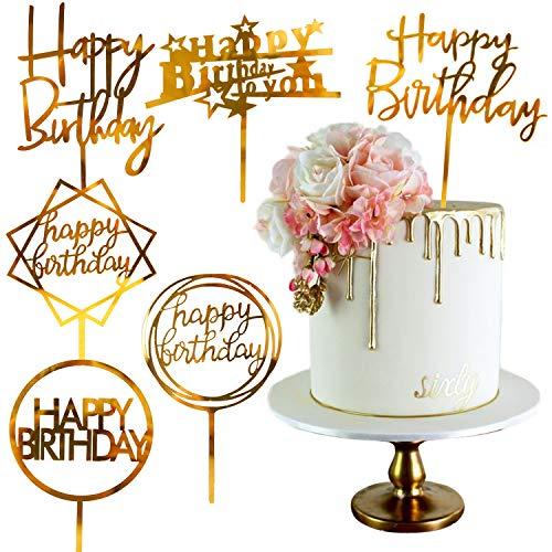 PartyWoo Happy Birthday Tortendeko, 6 Stück Tortendeko Set, Tortendeko Geburtstag, Kuchendeko Geburtstag,Kuchendeko für Geburtstagsfeiern (Gold)