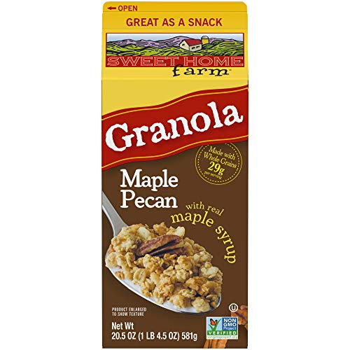 Sweet Home Farm Maple Pecan Granola, Made with Whole Grain, Non-GMO Project Verified, Kosher, Vegan, 24 Oz Recyclable Carton (Pack of 8)