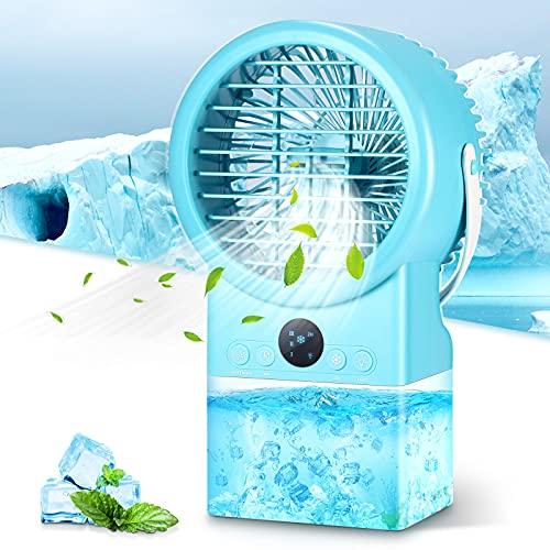 Vingtank Mobile Klimageräte Kleine, Mini-Klimaanlage Air Cooler, 3-in-1 Persönlicher Luftkühler|Luftbefeuchter|Ventilator 500ML mit 3 Modi/7 Farben Nachtlicht für Zimmer Zuhause Büro Küche