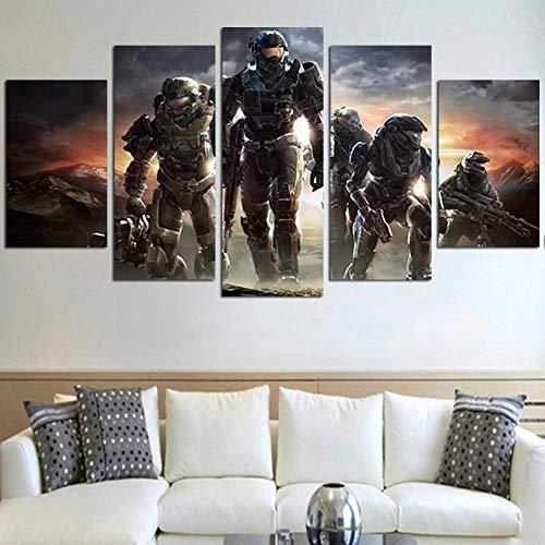 KOPASD 5 Teilig Art Bilder Wandbild Leinwand Halo Reach Format Wohnzimmer Wohnung Wanddekoration Design Wand Bild Kunstdrucke Abstrakt Bilder Fertig Aufhängen
