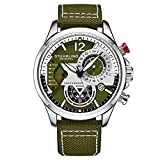 Stuhrling Original Mens Dress Watch - Aviator Watch with Leather Band Watches for Men with Date 24 Hour Subdial Chronograph Sports Watch (Green)
