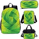 Juego de mochila para adolescentes de 17 pulgadas, diseño de líneas de remolino artísticas con curvas para el trabajo, la escuela, los viajes, el picnic