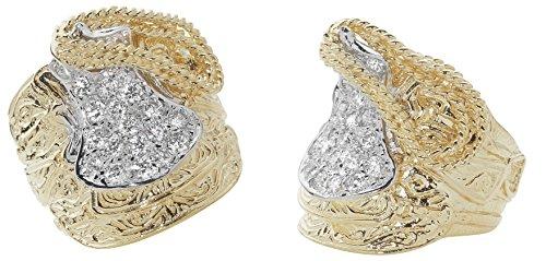 Very Heavy 9 Carat Yellow Gold Men's Cubic Zirconia Saddle Ring - British Made - Hallmarked (W)