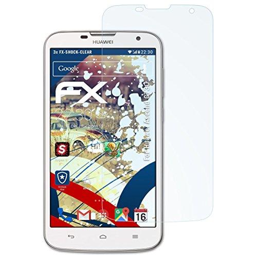 atFoliX Schutzfolie kompatibel mit Huawei Ascend G730 Panzerfolie, ultraklare & stoßdämpfende FX Folie (3X)