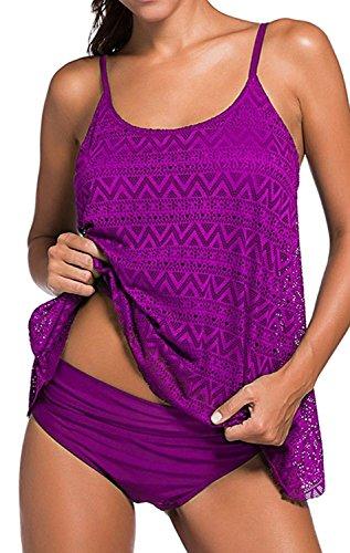 YuanYan Damen Sportlich Tankini Top Bandeau Bikini Sets Zwei Stück Beachwear Gepolstert Badeanzug, Größe Small, Farbe Lila