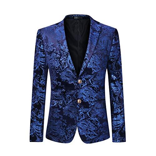 Cloudstyle Men's Dress Floral Suit Notched Lapel Slim Fit Stylish Blazer,Blue,XX-Large
