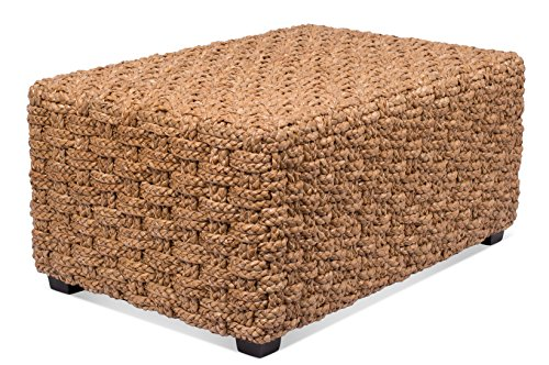 BIRDROCK HOME Checkered Weave Seagrass Coffee Table - Hand Woven - Rectangle - Living Room Decor - Fully Assembled