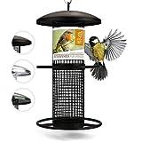 corazón animal salvaje | Comederos para aves de comida de grano, 25 cm, con plazas de acero inoxidable, columna de alimentación para pájaros, lleno de maní [negro]