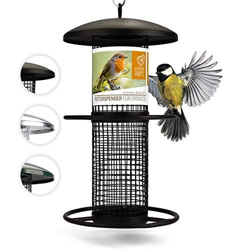 Vogelfutterspender 26cm - 5 Jahre Garantie - Erdnussfutterspender aus rostfreiem Metall, Vogel Futterstation, Futtersäule, Nüsse Erdnüsse, Wildvögel Futtersilo, Schwarz