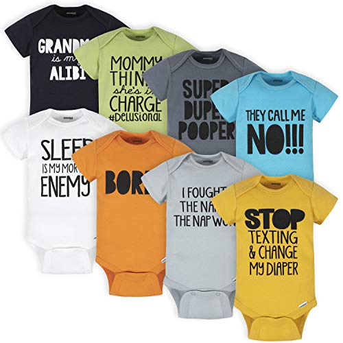 Onesies Brand unisex baby 8-pack Bodysuits Shirt, Grey Funny, 12 Months US