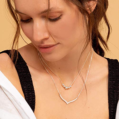 Handmade Set Of 2 Sterling Silver Necklaces - Dainty Sterling Silver Necklace With Beads & V Shape Pendant For Women