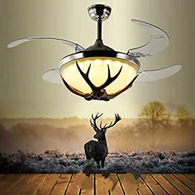 """Lighting Groups 42"""" Invisible Reversible Ceiling Fan Lights Industrial Retro Restaurant Antler Fan Chandelier with Remote Control, Retractable Ceiling Light Kits with Fans (Bronze)"""