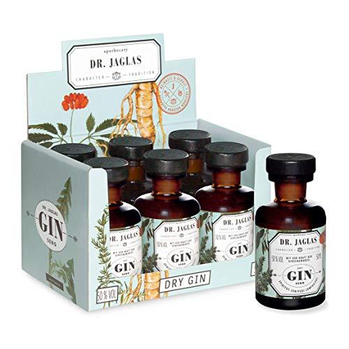 Dr. Jaglas Gin Seng | Wacholderbeer-Spiritus in 6 kleinen Einzelflaschen à 50 ml | 50% Vol