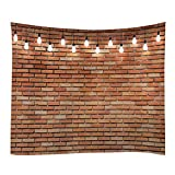 Red Brick Wall Print Fabric Tapestry Decorative Wall Art Tablecloth Bedspread Picnic Blanket Beach Throw Blanket Multifunctional for Bedroom Hall Dormitory Living Room Hanging 79 x 59 inches