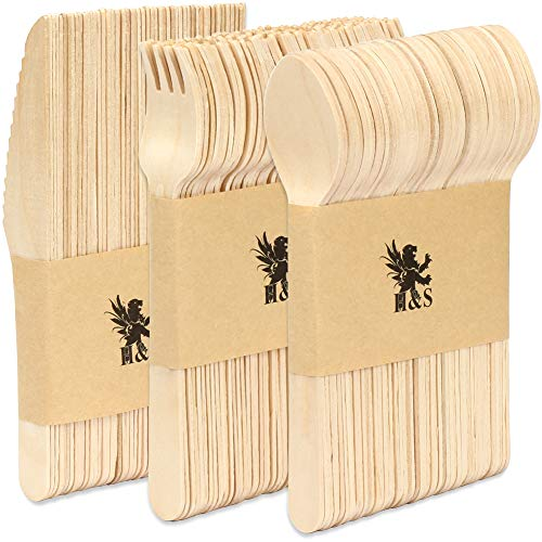 H&S 150pcs Wooden Cutlery Set Disposable Biodegradable Wood Eco Friendly for Picnic Party - 50 Forks, 50 Knives, 50 Spoons