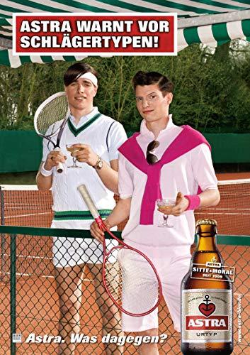 ASTRA Bier Werbung/Reklame Plakat DIN A1 59,4 x 84,1cm warnt vor Schlägertypen, kultiges Poster aus St. Pauli