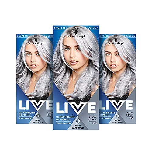 Schwarzkopf Live Ultra Bright or Pastel Colouration, Steel Silver...