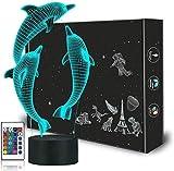 Lámpara 3D ilusión Dragon Anime Gaming Dog Delfín 16 colores cambiantes Touch Lámpara de escritorio para niños Cumpleaños Navidad Regalos