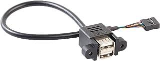 IPOTCH マザーボードケーブル デュアル USB 2.0  データ転送 メス 9ピン ネジ穴