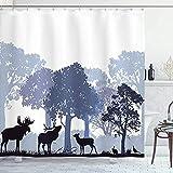 Badvorhang Elche Duschvorhang, Walddesign Abstrakte Wald Nordamerikanische Wildtiere Hirsch Hare Elch Bäume, Tuchstoff Badezimmer Dekor, Mit Haken