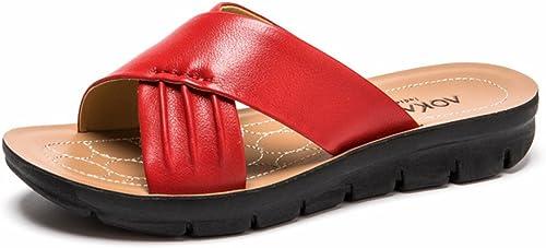 QIDI-sandales Plastique Saison D'été Femme à La Mode Noir Rouge Blanc Fond Plat Pantoufles (Couleur   Rouge, Taille   EU39 UK6)