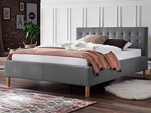 möbelando Polsterbett Einzelbett Bettrahmen Kompaktbett Bettgestell Bett Marsala I Hellgrau 140x200 cm