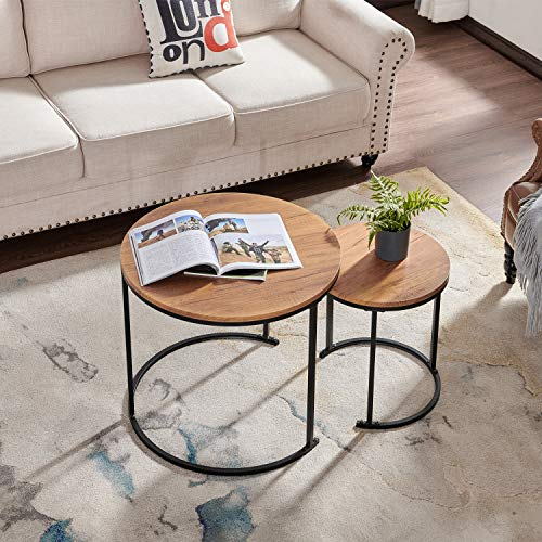 Mxfurhawa Round Nesting Coffee Set of 2, Stacking Living Room Accent Side Tables with an Industrial Wood Finish and Powder Coated Metal Frame for Small Space