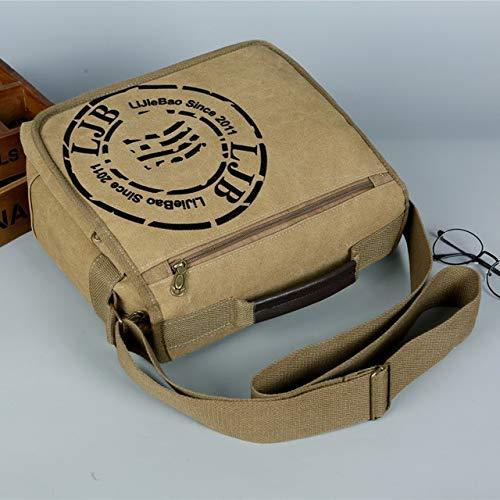 Yqs Canvas Bags Canvas Casual Top-Handle Handbag Men Messenger Bag Men's Crossbody Shoulder Bags Travel Pack (Color : Khaki, Size : 30cm X14cm X27cm)