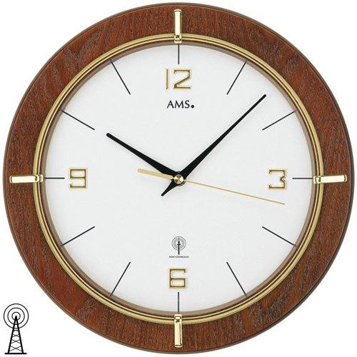 AMS Wanduhr 5832 Funk nussbaumfarben lackiert, goldfarben bedrucktes Mineralglas