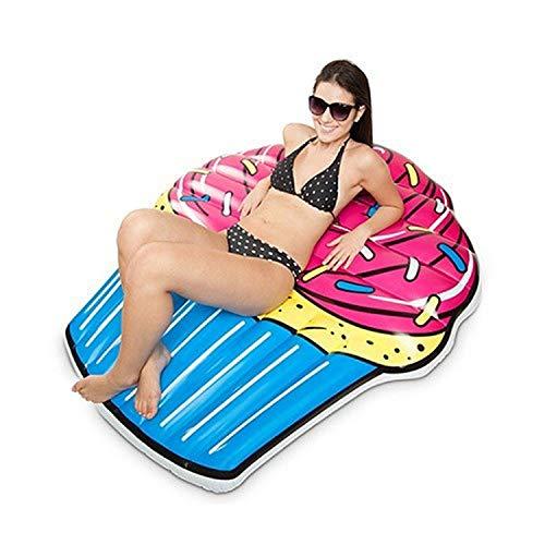 XCXDX Divertidos Cupcakes En Fila Flotante, Cama Flotante De Colores Brillantes, Anillo Inflable para Salvavidas, 110 × 135 Cm