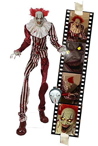 Horror Zombie Clown 2 Meter Halloween Puppe Roboter Licht Sound Bewegung Animatronic Deko