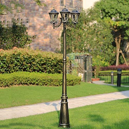 Ailtb 3-luces de la calle 2.2M alta Lámpara Polo IP55 a prueba de agua al aire libre Jardín luz del césped de la vendimia europea Victoria piso del anuncio del bolardo de la lámpara de bronce