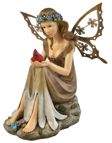 Moonrays 91351 Solar Powered Garden Fairy With Red Glowing LED Cardinal in hands, Polyresin With Hand Painted Details and Metal Wings, Rechargeable NiCd Battery, LED